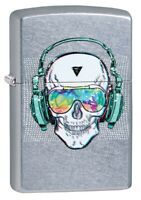Zippo Skull Headphone Design Street Chrome Windproof Pocket Lighter, 29855