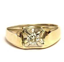 14k yellow gold .35ct VS1 O-P mens diamond solitaire ring 4.9g gents estate