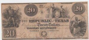 USA, Texas 20 Dollar 1817 gebraucht, entwertet   65768