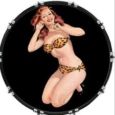 "20"" Custom Bass Kick Drum Front Head Graphical Graphic Pin Up Leopard Swim Suit"