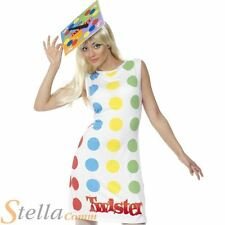 Ladies Twister Retro Board Game 80's Fancy Dress Costume With Hat Size 12-14