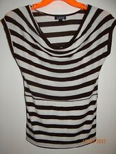A BYER Size M Brown & Gray Striped Short Sleeve Blouse Slouch Neck FREE SHIPPING