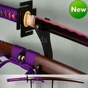 Hand Forged Japanese Samurai Sword Katana Full Tang T1095 Steel Purple Blade