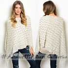 Womens Batwing Knit Fringe Poncho Winter Jumper Cape Sweater Pullover Top Shawl
