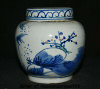 "4"" Ancient Chinese Blue White Porcelain Dynasty Man People Lid Pot Jar Crock"