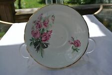 Delphine Bone China Saucer  Pink Roses Gold Trim England