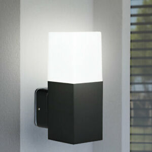 Design Außen Wand Lampe UP Fassaden Strahler ALU Terrassen Park Leuchte schwarz