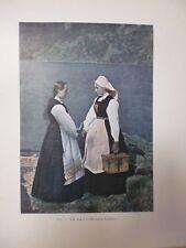 NORVEGE/SUEDE/Gravure 19°in folio couleur/ SOGNEFIORD /JEUNE FILLE ET POSTIERE