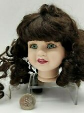 """Porcelain Doll Head Brown Hair in Ringlets Green Eyes W/Lashes Red Lips 4"""" Tall"""