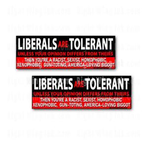 "Liberals are Tolerant Unless Funny Stickers Anti Joe Biden Decals 2 PK 9"" wide"