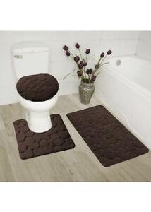 3 Pc. Embossed Velvet Memory Foam Bath Set ~ Mat, Contour & Lid Cover ~ Coffee