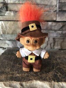 "Russ Troll Doll! 3"" Orange Hair Brown Eyes! Thanksgiving Pilgrim Boy!"