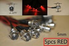 5pcs LED RED Indicator Light DC12V  Lamp Pilot Dash Directional Car TruckBoat
