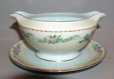 p7821: Meito Japan Vintage Gravy Boat Bowl with Underplate Floral Roses Gold