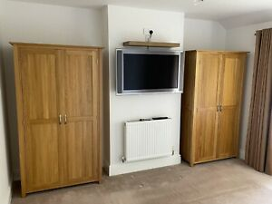 Two, 2 Door Oak Wardrobes