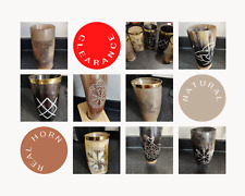 More details for scratch & dent- handmade real horn mugs/cups, viking drinking horns   patterned