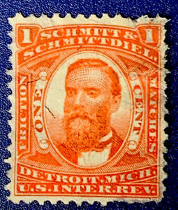 U1/100 US Stamp Revenue SCOTT #RO166c PRIVATE DIE SCHMITT & SCHMITTDEL Thin