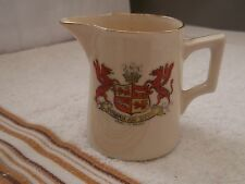 VINTAGE SMALL MILK  JUG  CRESTED ARMS OF WALES  NO MAKER