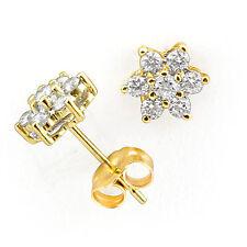 0.50 Ct Round Cut F VS1Diamond Cluster Women's Men's Earring 14k Gold Yellow
