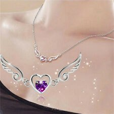 Silver Necklace Dream Angels Wings of Love Heart Necklace Female Birthday Gift.^