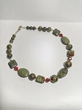 Beautiful Chunky Dragon Blood Jasper Bead  Gemstone Necklace 925 silver