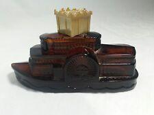 Vintage Avon Natchez Steamship Collectible Amber Glass Bottle