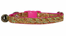 "shocking pink & gold sparkle safety kitten cat collar 7""-10"