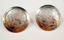 Vintage Stamped Silvertone Round Design POLE STICK Pierced Earrings U6