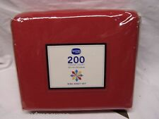 """King Size Bright Red Sheet Set Fit Up To 14"""" Deep"""