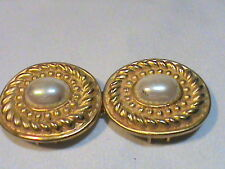 Vintage Dotty Smith Gold tone Faux Pearl Belt Buckle
