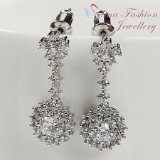18k White Gold Plated Simulated Diamond Studded Shiny Flower Round Halo Earrings