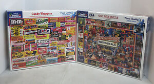 Lot of 2 White Mountain 1000 Piece Candy Wrappers Broadway The Musicals Puzzles