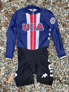 Assos USA Cycling Thermal Long Sleeve SkinSuit Size S USA Team Worlds Rd/Wht/Blu