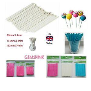Paper Lollipop Cake Pop Sticks Pink Blue White 89mm 114mm 152mm