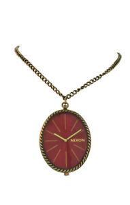 "Nixon A275 477 Gem Pendant Women's Red Oval Analog Watch 16"""