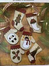 Christmas Woolens Felt Appliqué Ornaments Set of 6 Rachels of Greenfield Sealed