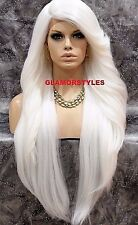 "38"" Long Layered With Bangs White Full Lace Front Wig Heat Ok Hair Piece NWT"