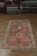 Nice Geometric Semi Antique Handmade Shiraz Persian Rug Oriental Area Carpet 5X7