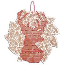 Wooden Deer Christmas Wreath Scandinavian Inspired Xmas Decoration Laser Cut Ply