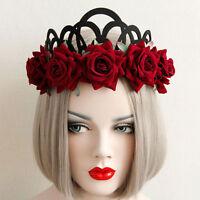 New Vintage Floral Crown Red Rose Flower Headband Hair Garland Wedding Headpiece