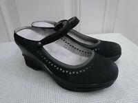 Women's JAMBU 8.5 M Black Cutout Leather Strappy Slides Wedge Heels Mules Shoes