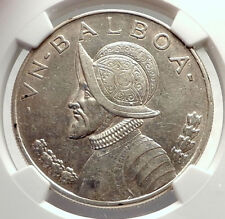 1934 PANAMA Large Silver CONQUISTADOR BALBOA Coin NGC Certified AU DETAIL i71313