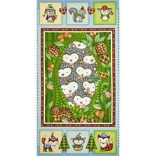 "Fabric Hedgehogs Hedgehugs on Cotton Panel 23"" x 42"""