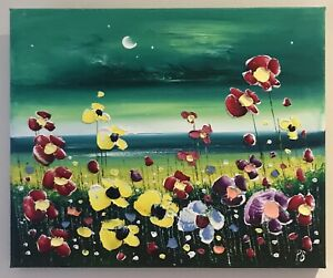 Original Modern Art Oil On Canvas Painting Of Beach And Flowers By Phil Broad