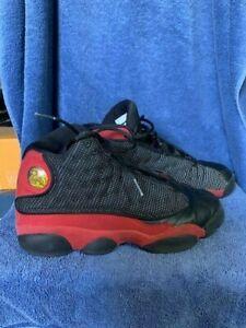 Men's Nike Air Jordan 13 Retro BRED Black/True-Red Shoes Size 7Y 414574-004 VGC