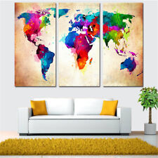 Frameless Huge Wall Art Oil Painting On Canvas Colorful World Map Home Decor BF
