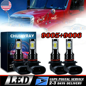 4pc LED Conversion Bulb Kit for Freightliner Columbia Headlights Lamp Low + High