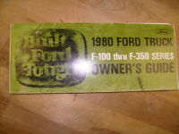 1980 FORD TRUCK F-100 thru F-350 series owner's guide  manual  / e3