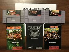 3-SNES Super Nintendo Video Games Donkey Kong Country 1,2,Family Feud W/Manuals