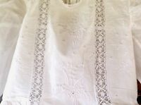 Antique Hand Embroidered Beautiful Lawn Childs Dress Display Or Re Use